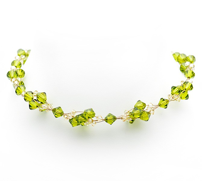 Green Crystal Choker and Earring Set