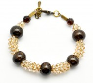 Glittering Clear and Bronze Bracelet