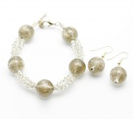 Glittering Clear and Champagne Bracelet