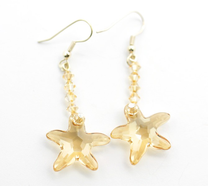 Starfish Crystal Long Earrings