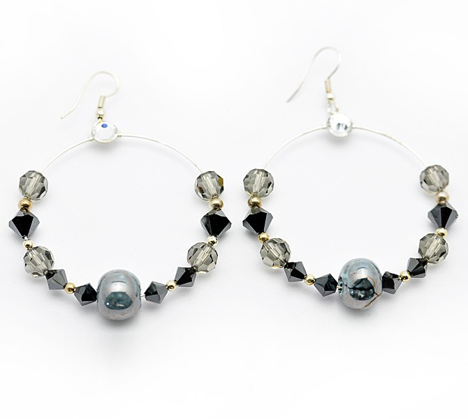 Black Hoop Crystal Earrings