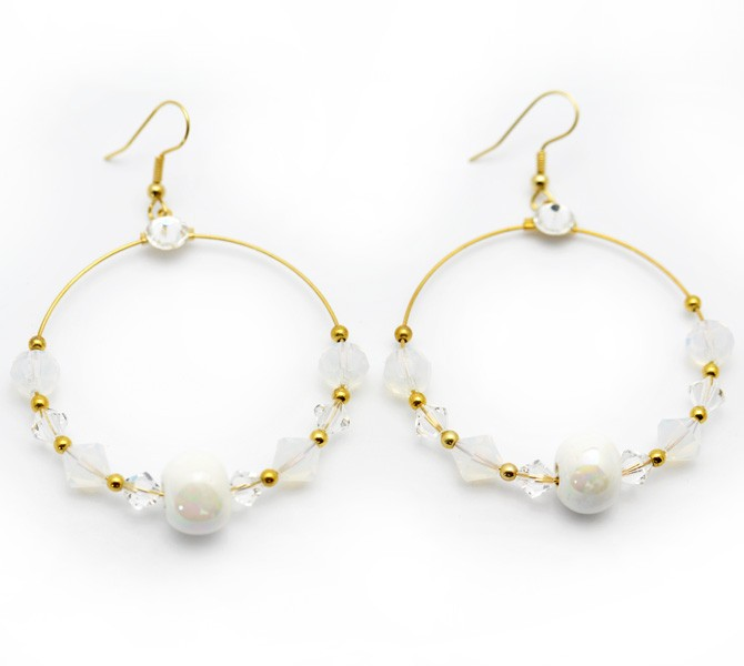 White Hoop Crystal Earrings
