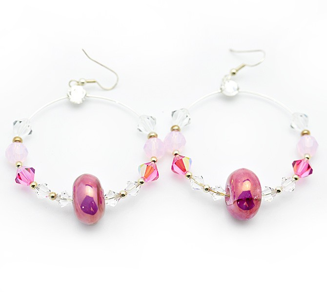 Pink Hoop Crystal Earrings