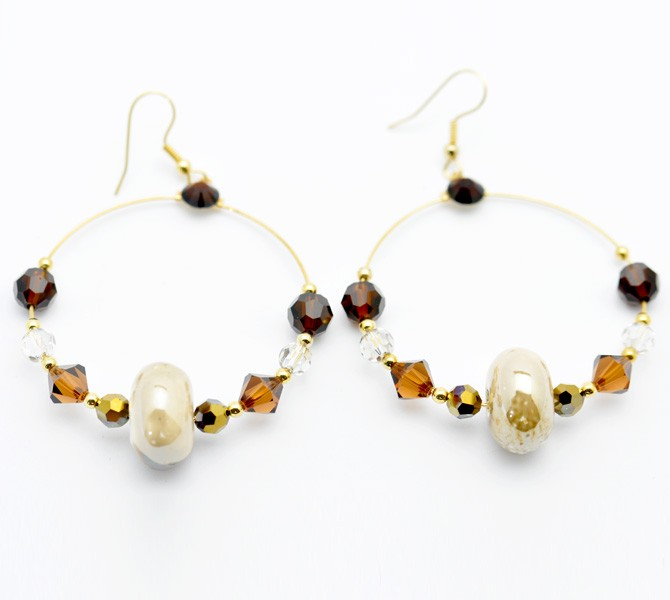 Bronze Hoop Crystal Earrings