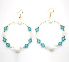 Blue Hoop Crystal Earrings